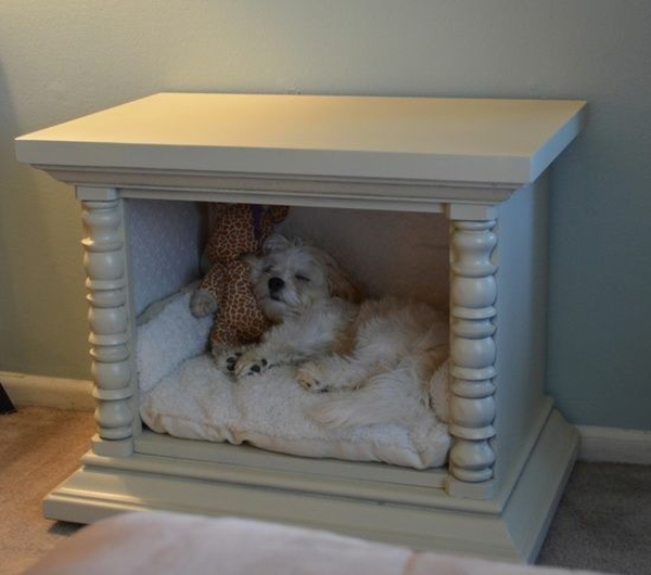 Put dog mat under night desk